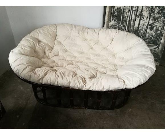 Canapé futon en rotin