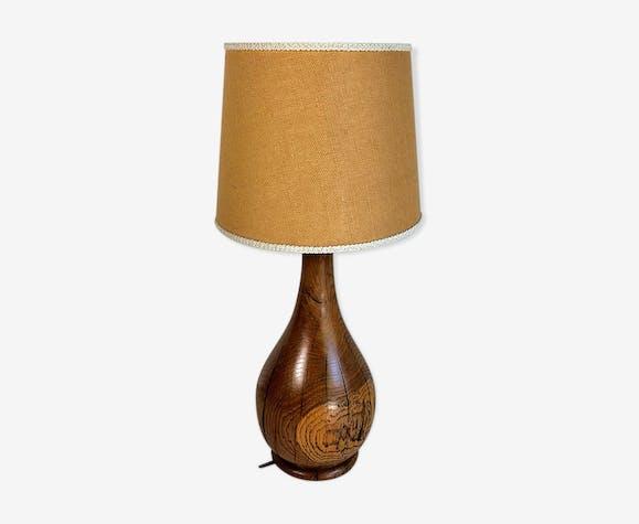 Lampe vintage 60 en chêne massif