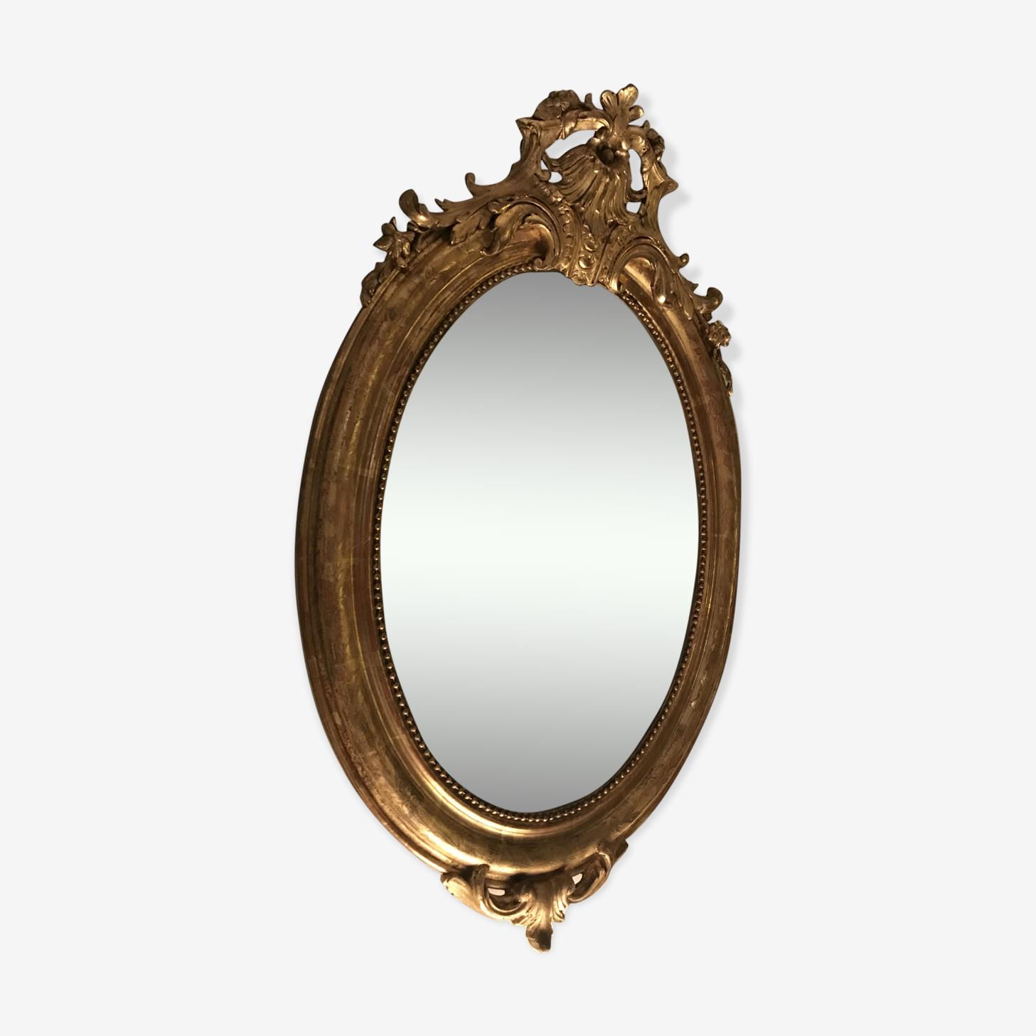 Miroir ovale Louis XVI feuille d'or