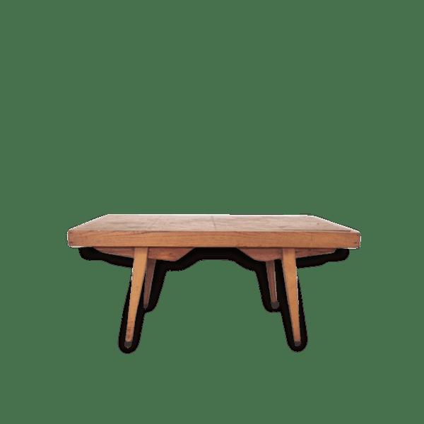 table basse bois vintage pieds compas ann es 50 bois mat riau bois couleur vintage. Black Bedroom Furniture Sets. Home Design Ideas