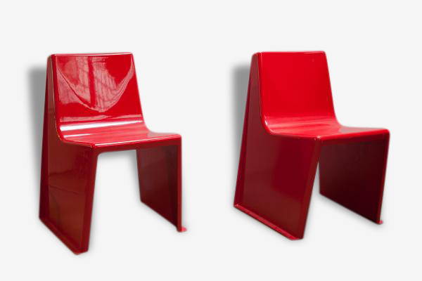 Chaises de Jardin Vintage Rouges en Fibre de Verre, Set de 2