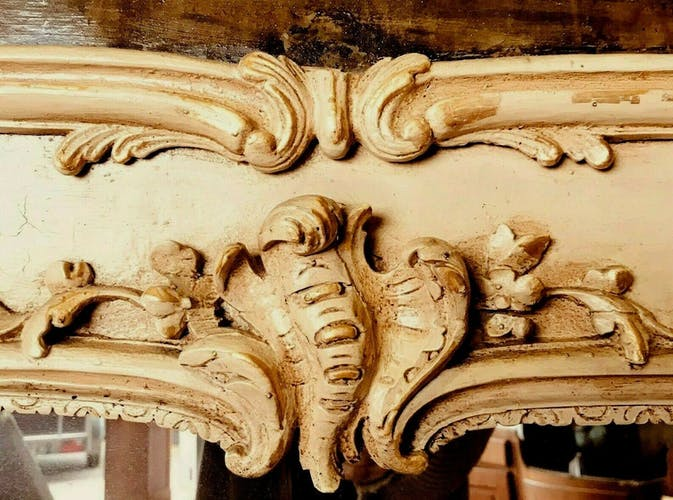 Chimney trumeau in the style of Louis XV in carved wood and patinated from the 19th century