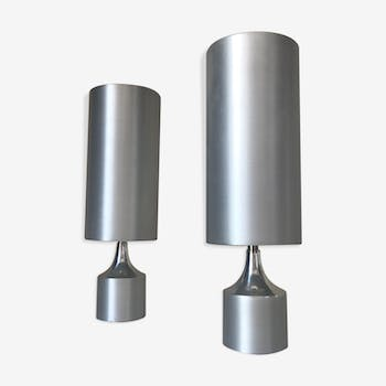 Pair of aluminium lamps design 70s
