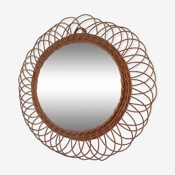 Round rattan mirror 50cm