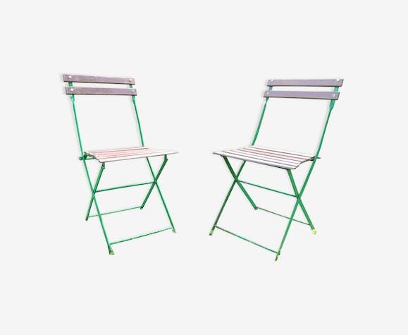 Lot de 2 chaises pliantes de jardin 70's