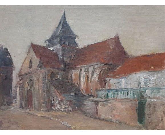 """Peinture de Nagao Usui  """"L'église"""""""