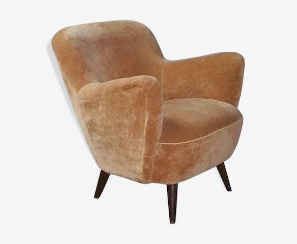 fauteuil organique ann es 50 60 vintage tissu orange vintage pqwt9jy. Black Bedroom Furniture Sets. Home Design Ideas