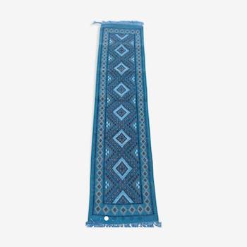 Tapis couloir bleu en pure laine 51 x 208 cm