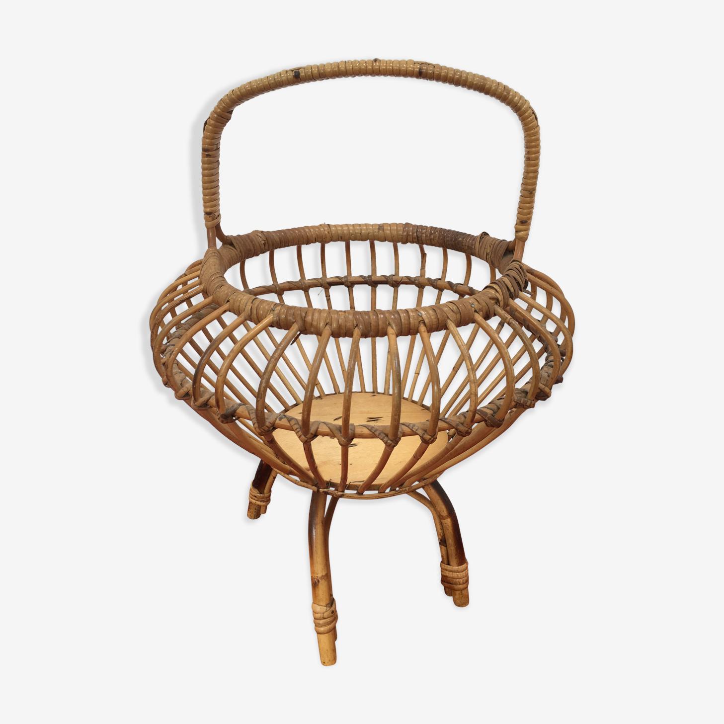 Travailleuse vintage en rotin et bambou