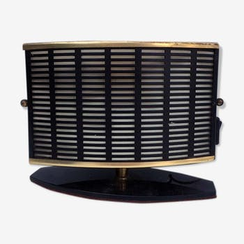 Black metal and gilded brass table lamp