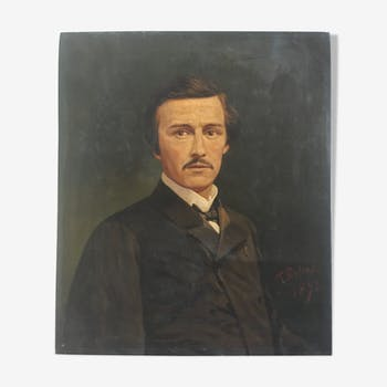 Flemish painting, 1872 signed portrait of a man, oil on canvas
