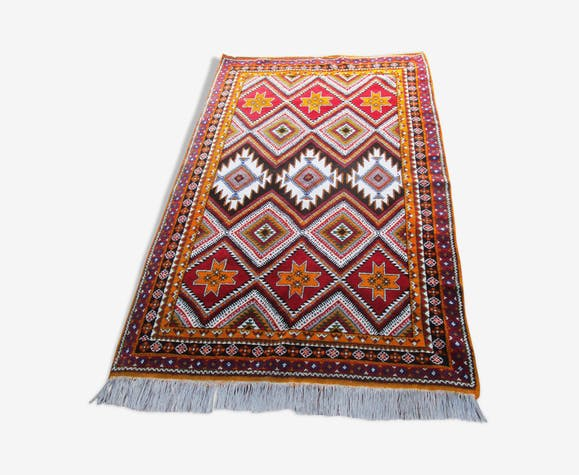 Tapis marocain vintage orange rouge 153x252 cm