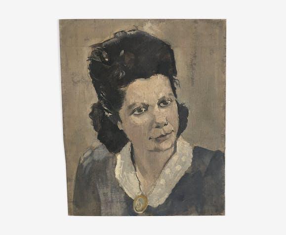"""Huile sur toile """"Femme des années 40"""""""