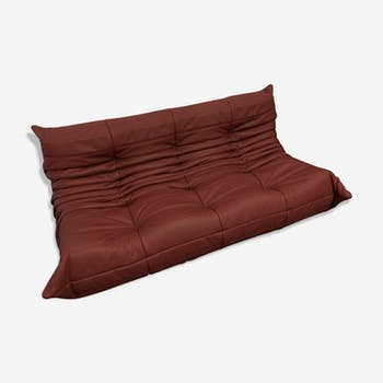 "Sofa 3 places ""Togo"" red leather by Michel Ducaroy for Ligne Roset"