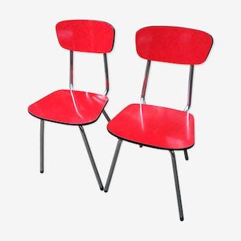 Chaises en  formica rouge