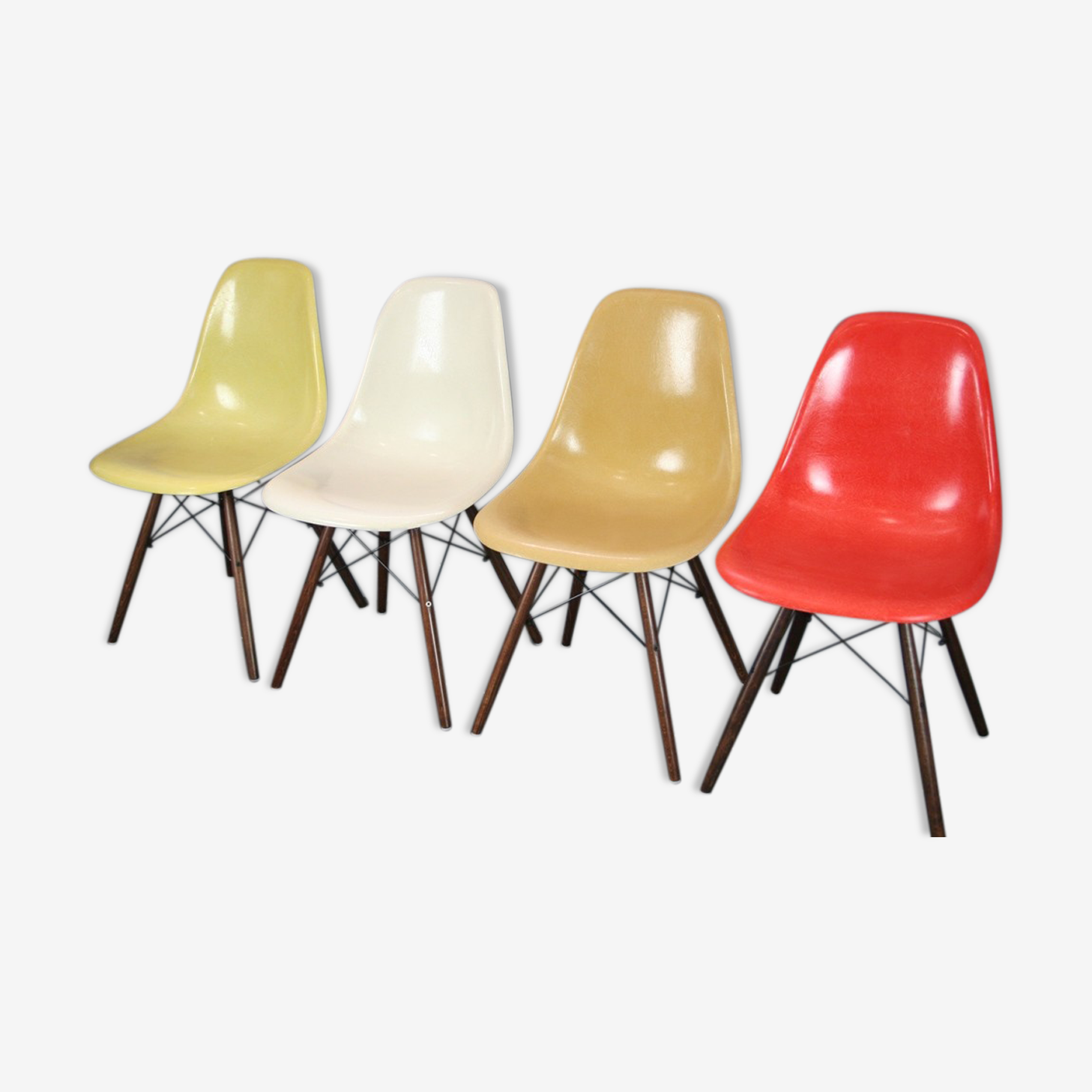 Lot 4 chairs DSW fiber walnut Eames Herman Miller vintage