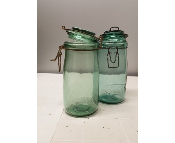 Lot of 2 old Solidex jars 1 l