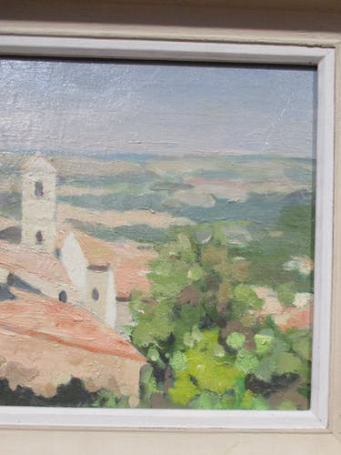 Table, oil on panel, view of Provence