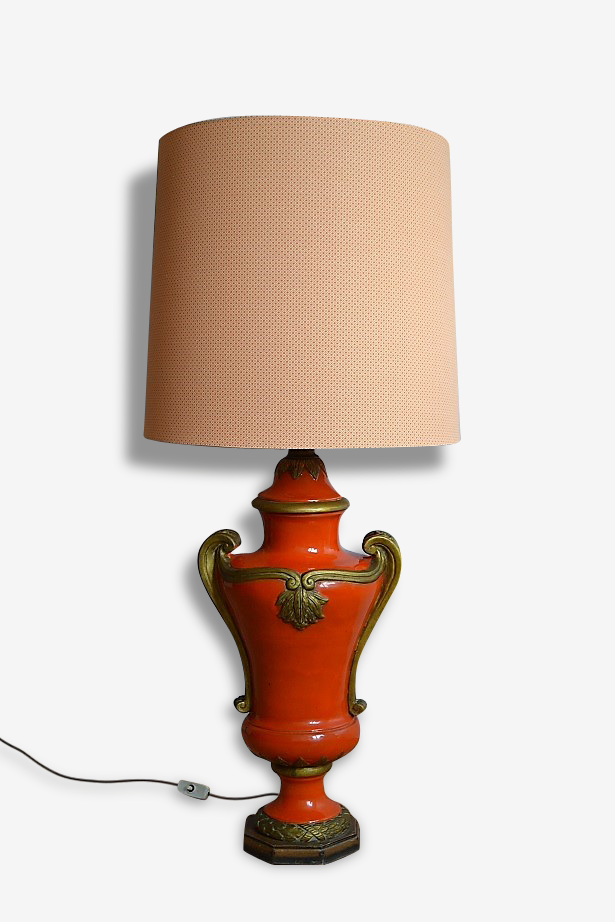 Lampe Amphore céramique orange vintage 1960's 1970