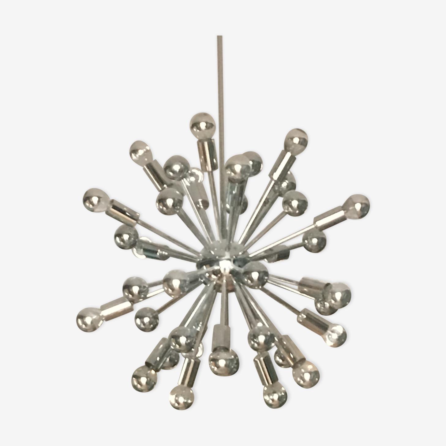 Suspension Spoutnik en métal chromé original des années 60