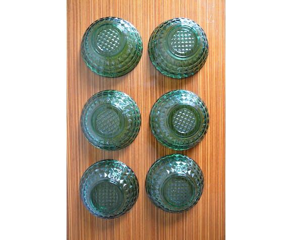Lot de 6 coupelles années 60, vert émeraude