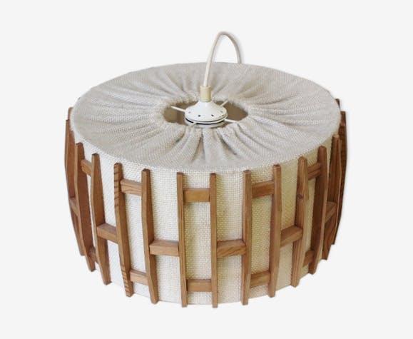 luminaire vintage en tissu beige plafonnier style scandinave - Luminaire Style Scandinave
