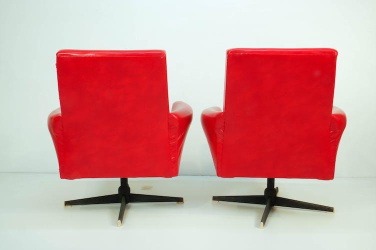 Lot de 2 fauteuils pivotants rouges de Drevotvar, 1978