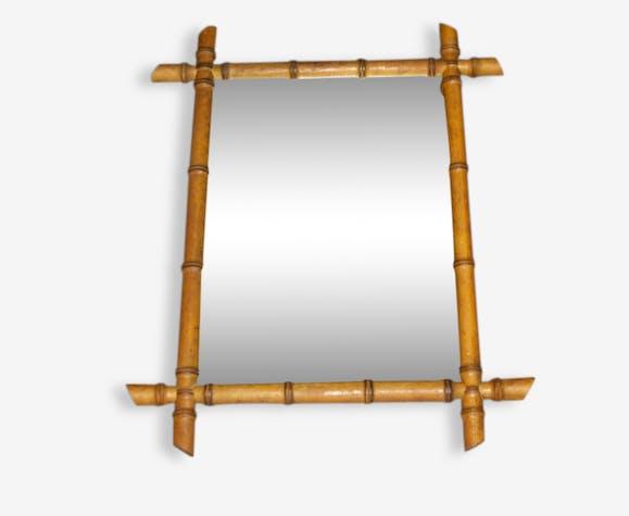 miroir cadre en bois imitation bambou 1900 bois. Black Bedroom Furniture Sets. Home Design Ideas