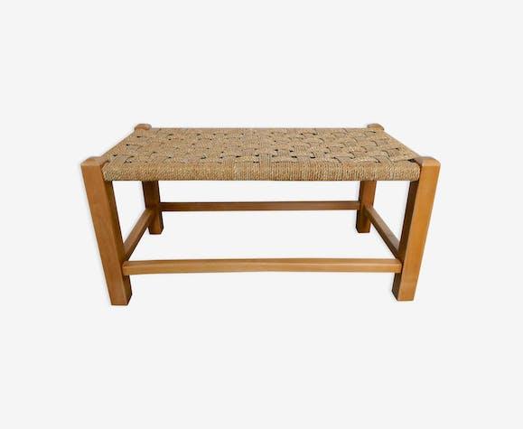 Banc bohème en bois clair et assise corde