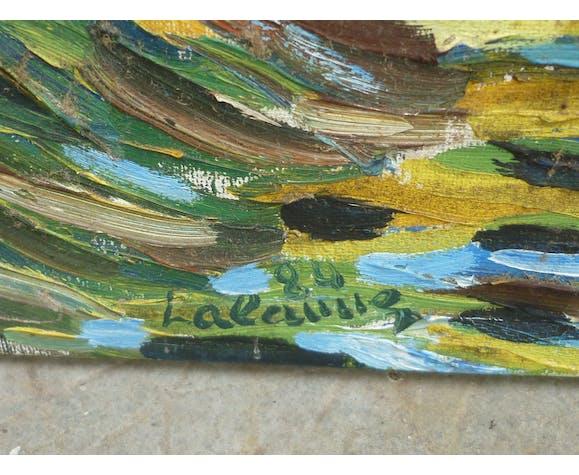 Tableau abstrait peinture couteau signé Lalanne