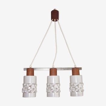 Scandinavian hanging lamp in teak and glass globe
