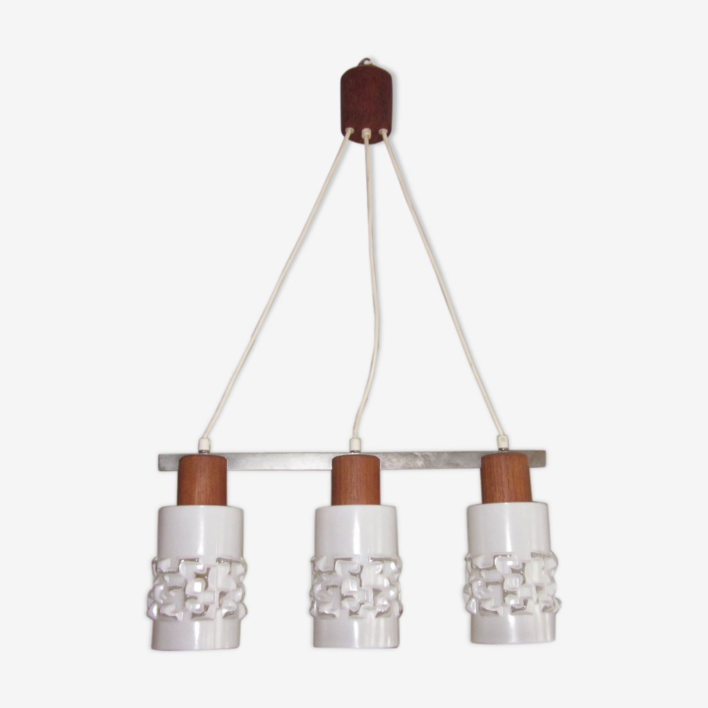 Suspension scandinave en teck et globe en verre