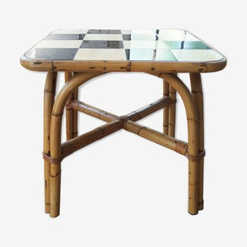 Rattan and tile side table