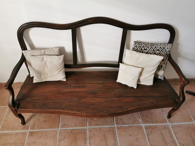 Raw wood sofa
