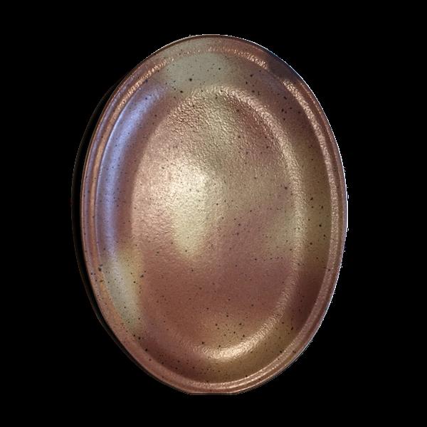 Plat de service ovale en grès de Bourgogne