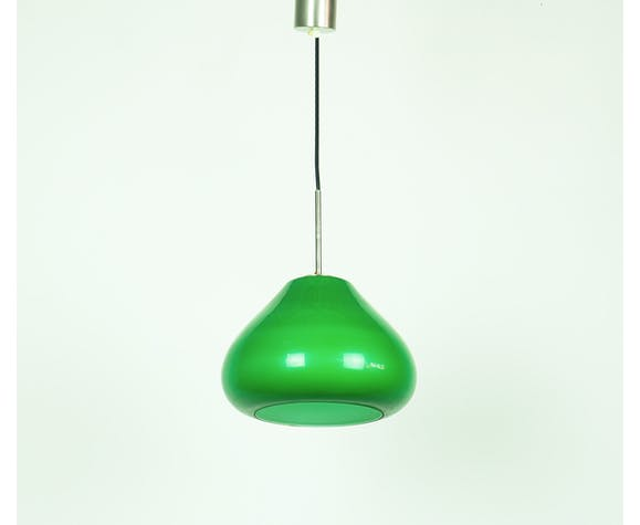 Suspension en verre vintage italien vert