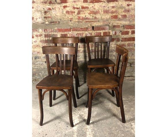 Série de 4 chaises bistrot Baumann en hêtre massif 1950