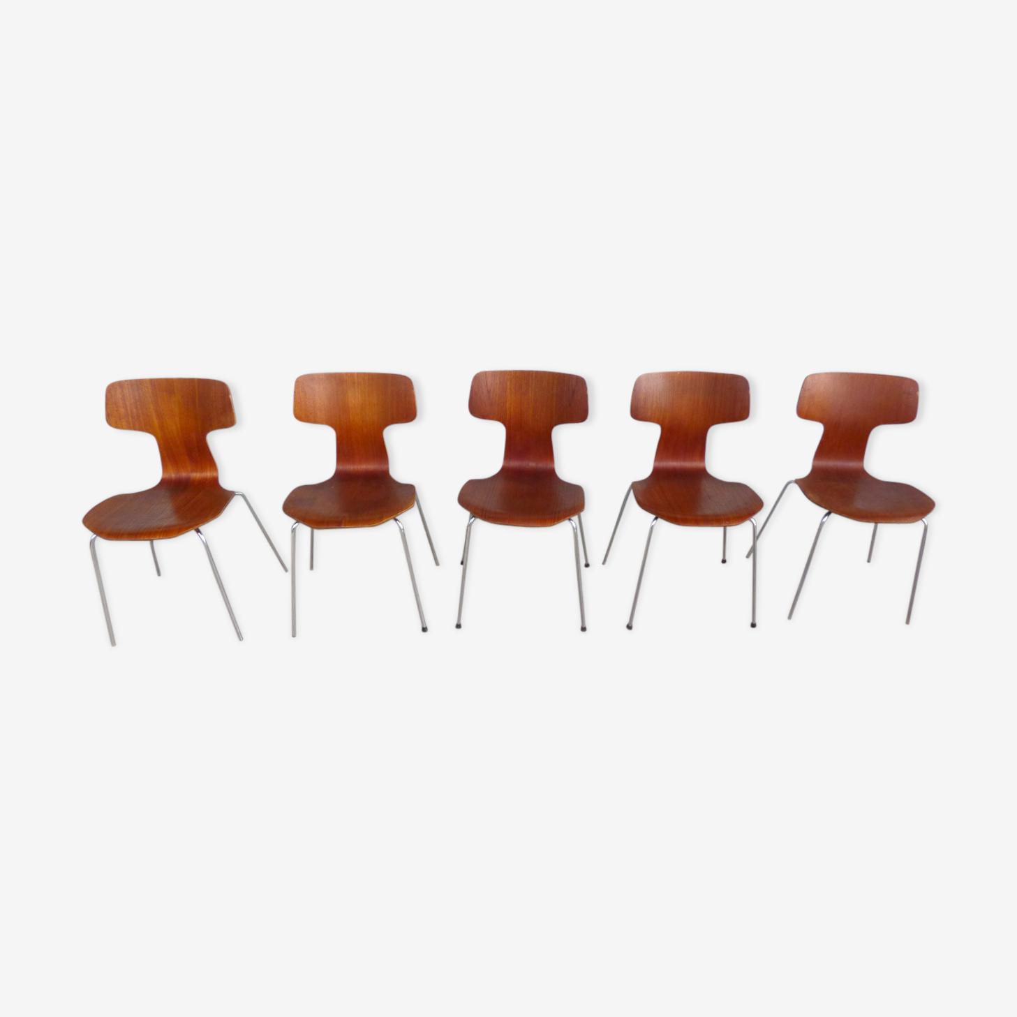 Série de 5 chaises marteau Arne Jacobsen pour Fritz Hansen