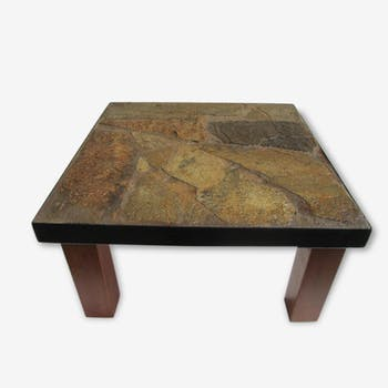Low brutalist flagstone coffee table