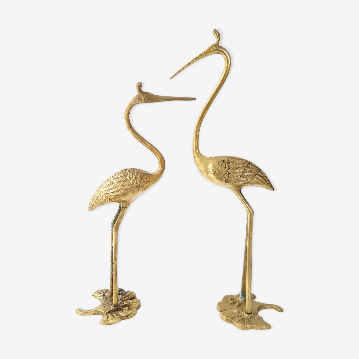 Paire de hérons en laiton doré  1970