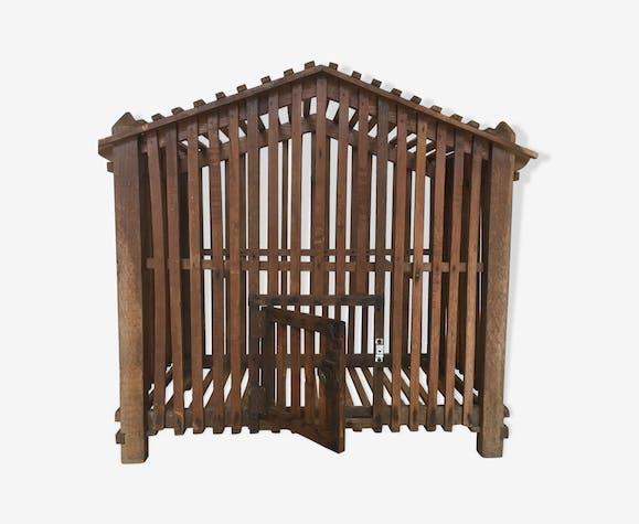 Cage à oiseaux en bois, art populaire années 40