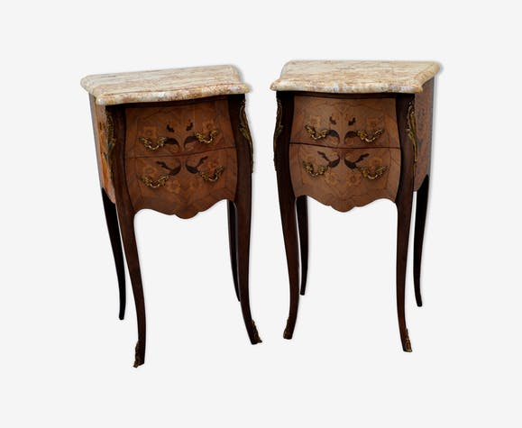 Pair of bedside tables louisxv stamped rosewood signed