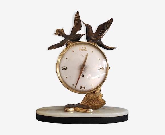 Horloge de cheminée style Art Déco Silvoz, socle en marbre veiné