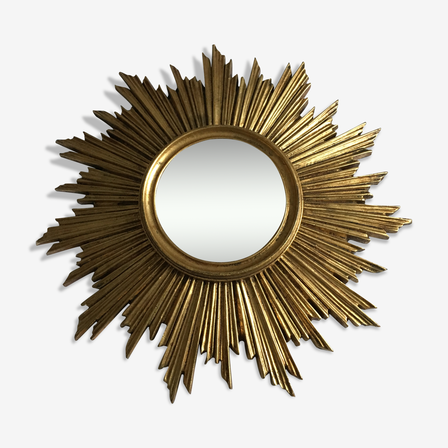 Miroir soleil dore annees 60/70 43cm