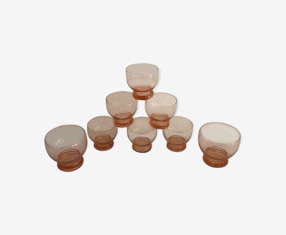 Huit verres rosés  années 60