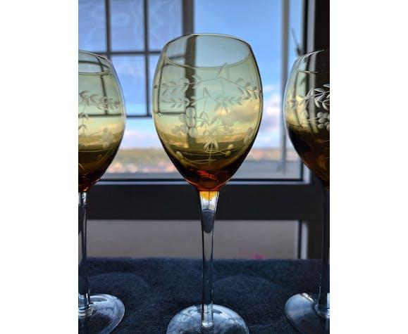 Lot de 6 verres vintage cristal gravé