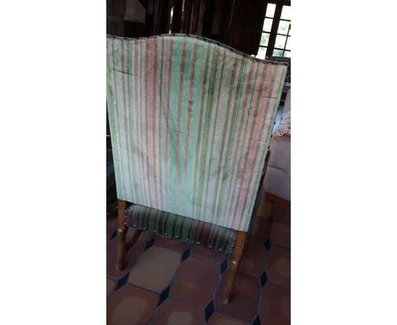 Pair of chairs fabric striped Velvet