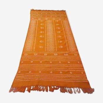 Tapis kilim marocain orange, tapis berbère orange en laine fait à la main