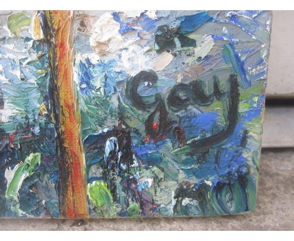 ancienne peinture sur toile signé Jay