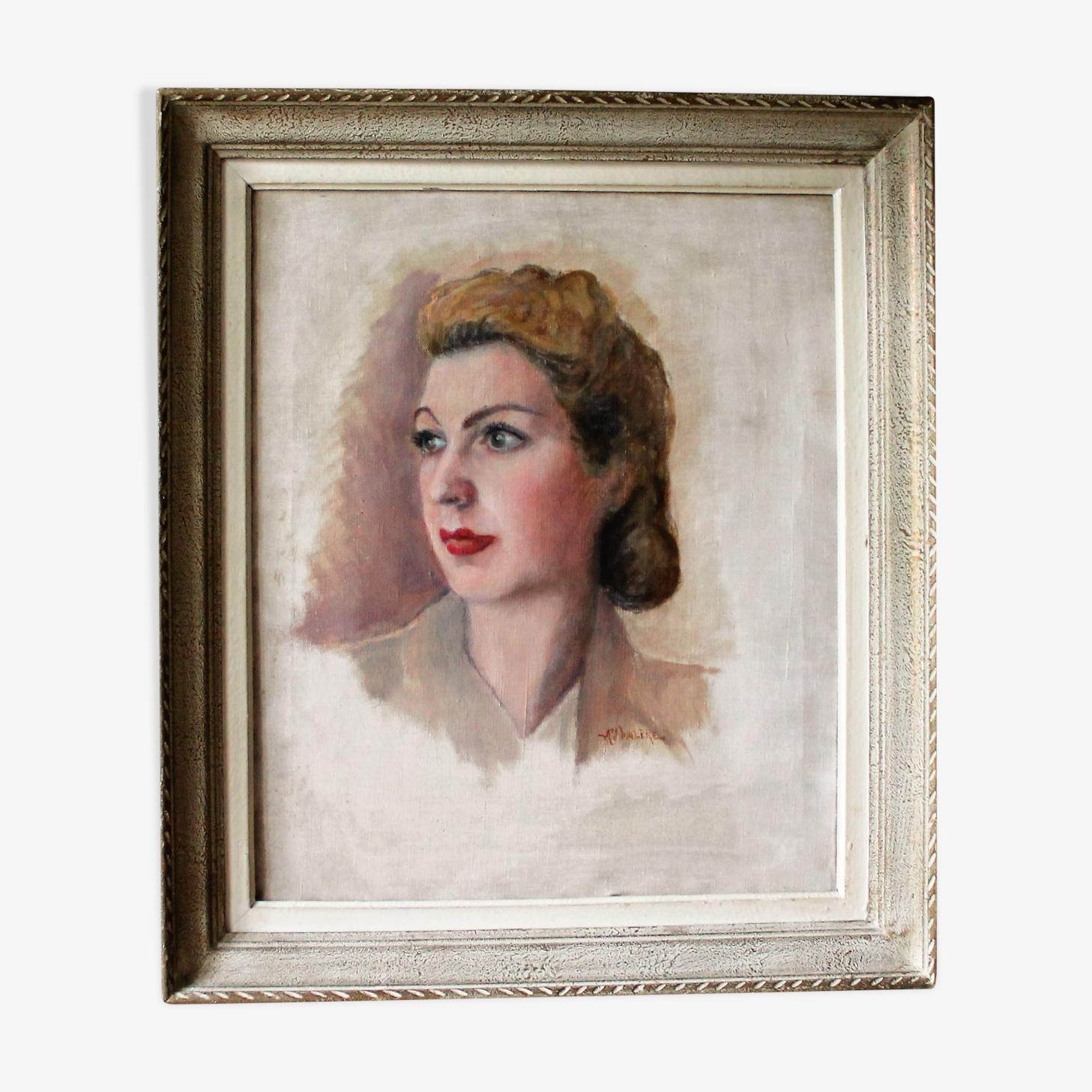 Portrait sur toile des années 1940 signée Auguste Valere